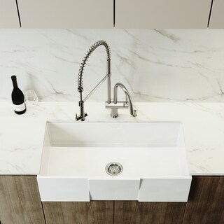 VIGO White 36-inch Square Front Matte Stone Farmhouse Kitchen Sink