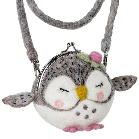 Handmade Felt Critter Purse: Olivia Owl (Nepal)