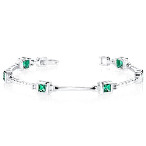 Simulated Emerald Bracelet Sterling Silver Bezel Set Princess Cut 1.5 Carats