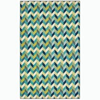 "Beachfront Chevron Blue/Green Indoor-Outdoor Area Rug - 8'6"" x 13'"