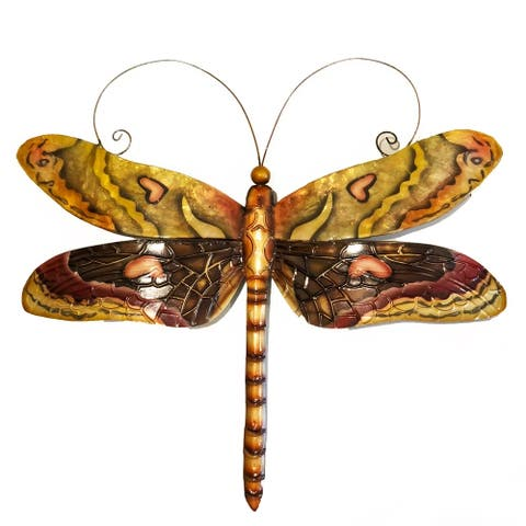Handmade Dragonfly Multi Color Brown