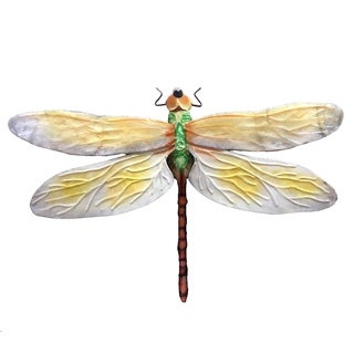 Handmade White And Green Dragonfly Wall Decor