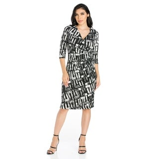 24/7 Comfort Apparel Women's Knee Length Faux Wrap Dress