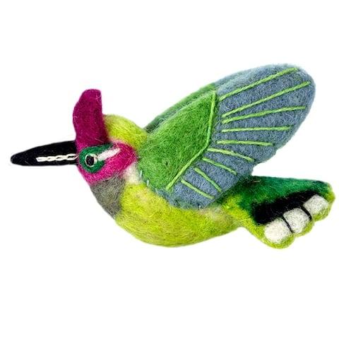 Handmade Wild Woolies Felt Bird Ornament - Anna's Hummingbird (Nepal)