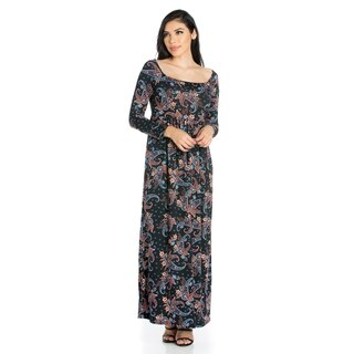 24/7 Comfort Apparel Women's Empire Waist Long Sleeve Maxi Dress