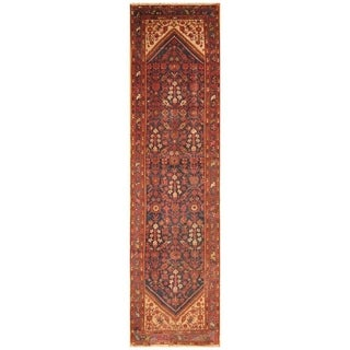 Handmade Herat Oriental Persian Hand-knotted Antique Malayer 1920's Wool Runner (3'5 x 13'3)
