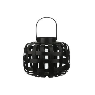 Urban Trends Wood Round Lantern with Handle, Lattice Design Body and Hurricane Glass Holder in Painted Finish - Black
