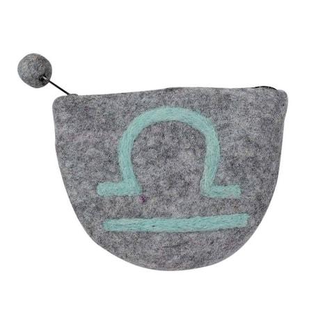 Handmade Felt Libra Zodiac Zippered Clutch Purse (Nepal) - XS