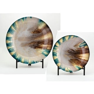 Jax Black and Multi-color Glass Chargers with Stand (Set of 2)