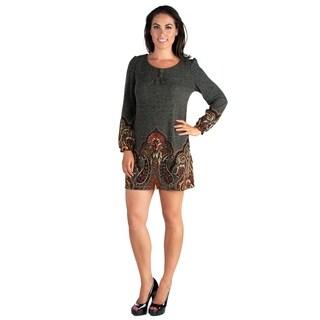 24/7 Comfort Apparel Women's Long Sleeve Mini Sweater Dress