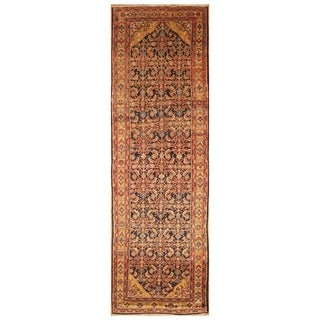 Handmade Herat Oriental Persian Hand-knotted Antique Malayer 1920's Wool Runner (4'6 x 14'6)
