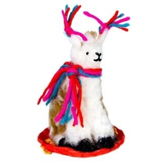 Link to Handmade Sledding Llama Felt Ornament (Nepal) Similar Items in Christmas Decorations