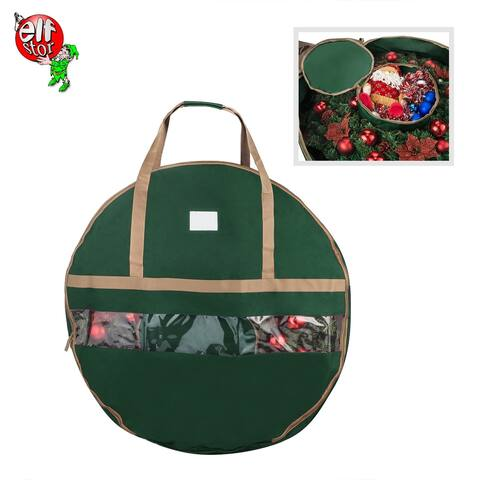 "Elf Stor Ultimate Green Holiday Christmas Wreath Storage Bag For 36"" Wreaths"