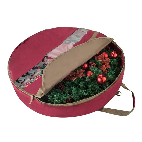 Elf Stor Ultimate Red Holiday Christmas Wreath Storage Bag For 30 Wreaths