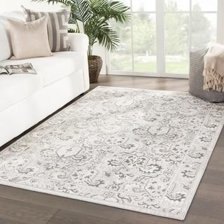 """Oretta Damask White/ Gray Area Rug - 5' x 7'6"""""""