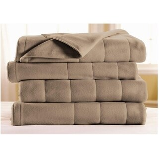 Sunbeam Heated Electric Blanket Royal Dreams Quilted Fleece Twin Mushroom Beige