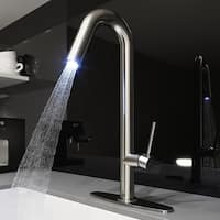 VIGO Oakhurst Stainless Steel LED Kitchen Faucet with Deck Plate