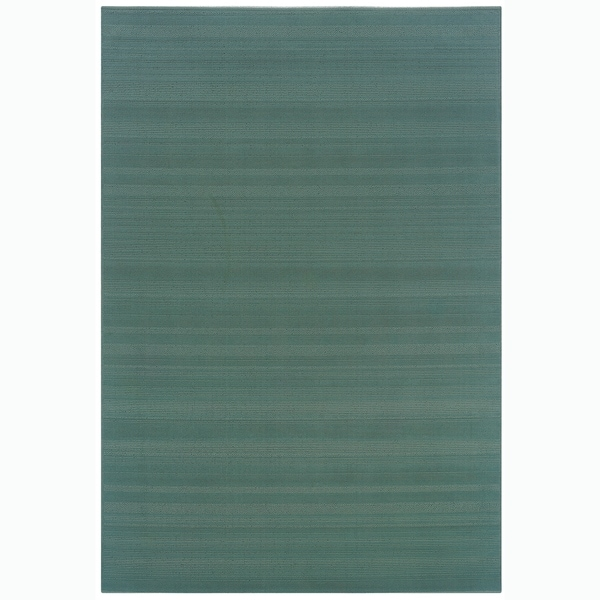 Shop Solid Teal Indoor Outdoor Indoor Outdoor Area Rug 3