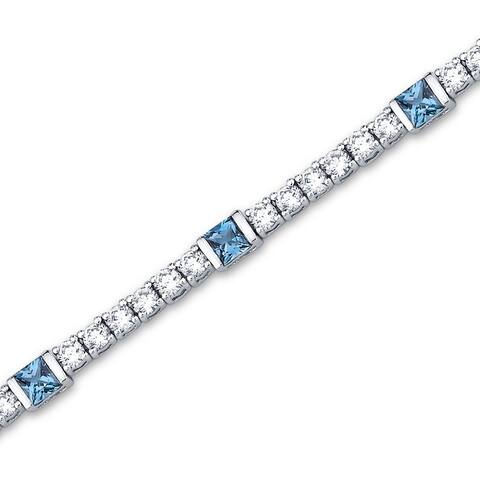 2.50 carats Princess Cut London Blue Topaz & White CZ Gemstone Bracelet in Sterling Silver