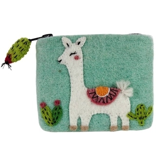 Link to Handmade Felt Happy Llama Coin Purse (Nepal) - XS Similar Items in Wallets