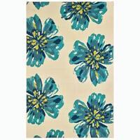"Daisy Mae Ivory/Blue Indoor-Outdoor Area Rug - 8'6"" x 13'"