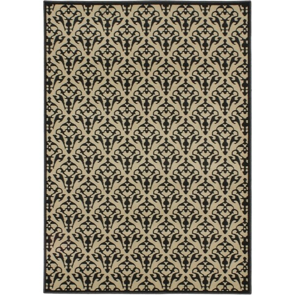 "ECARPETGALLERY Machine Woven Luxus Cream, Dark Grey Polypropylene Rug - 5'3"" x 7'4"""