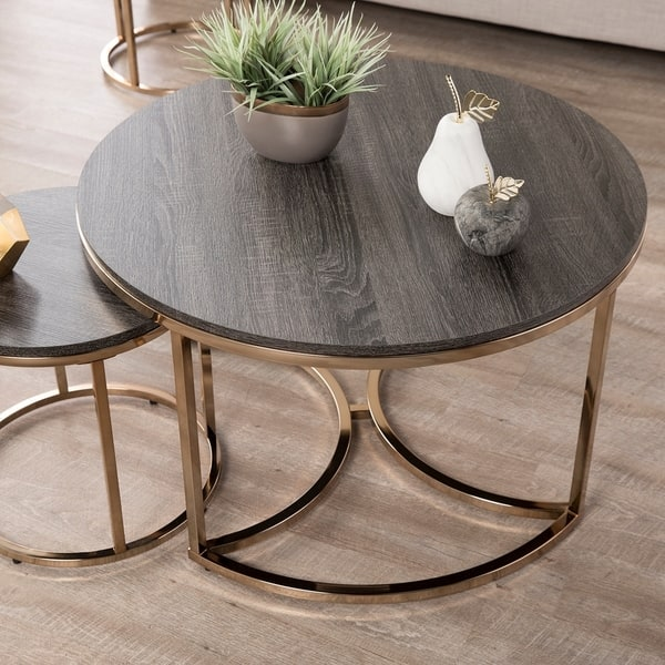 Shop Silver Orchid Belle Round 3 Piece Nesting Coffee Table Set