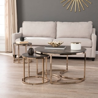 Silver Orchid Belle Round 3-piece Nesting Coffee Table Set