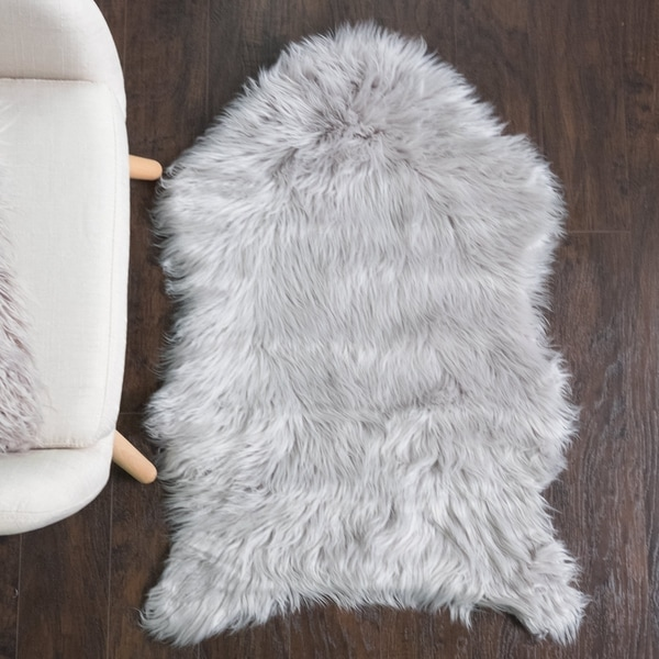 Shop Sweet Home Collection Faux Fur Rug (3'X2') Silver
