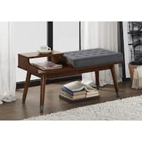 Grey Fabric Upholstered Tufted Telephone Bench