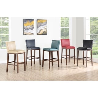 Link to Toledo Wood and Faux Leather Bar Stools (Set of 2) by Greyson Living Similar Items in Dining Room & Bar Furniture