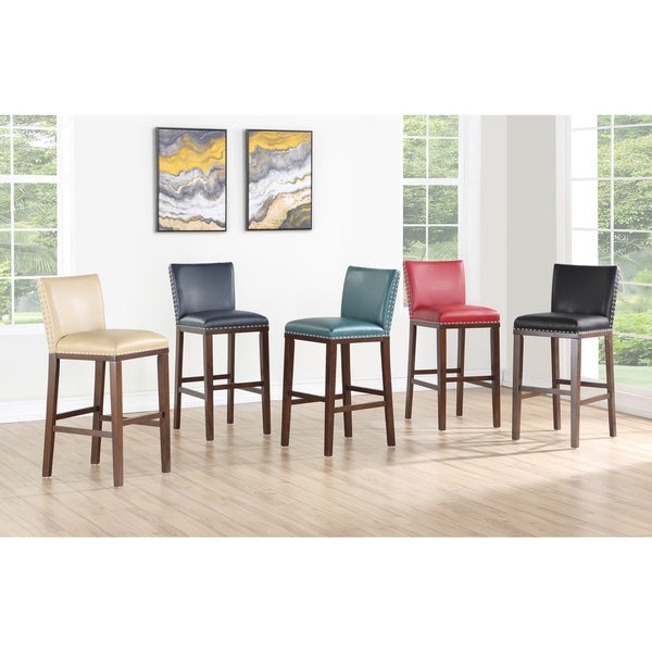 Toledo Wood and Faux Leather Bar Stools (Set of 2) by Greyson Living. Opens flyout.
