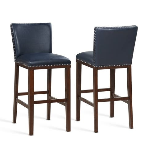 Toledo Wood and Faux Leather Bar Stools (Set of 2) by Greyson Living