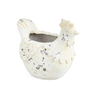 Irene Distressed White Rooster Planter