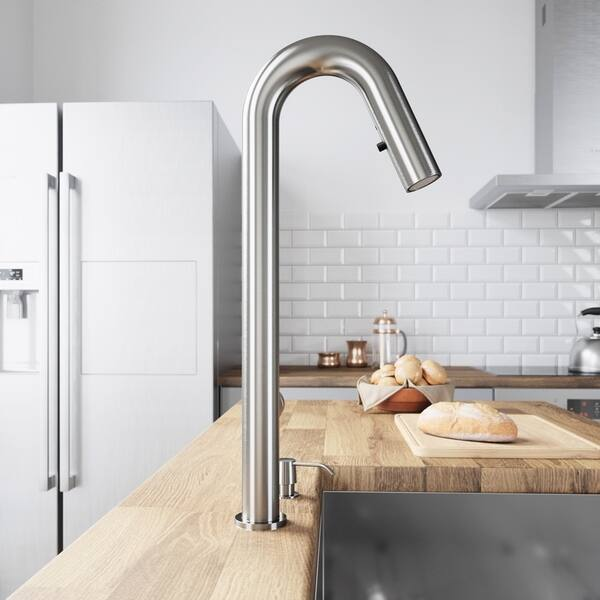 Shop VIGO Oakhurst Stainless Steel LED Kitchen Faucet with ...