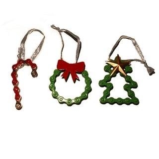 Handmade Colorful Bike Chain Ornament Trio (India)