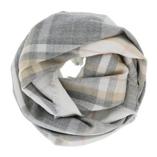LA77 Grey Plaid Infinity Scarf