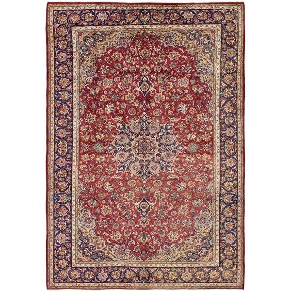 Shop Hand Knotted Isfahan Antique Wool Area Rug 8 10 X 12 10