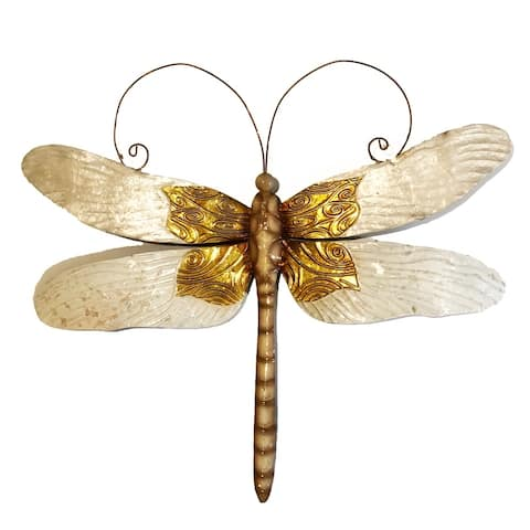 Handmade Dragonfly White And Gold