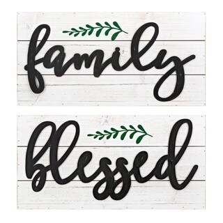 Blessed Family White Wall Decors (Set of 2)