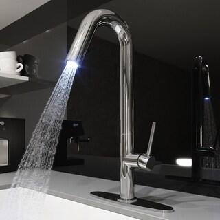 VIGO Oakhurst Chrome LED Pull-Down Kitchen Faucet with Deck Plate - Silver