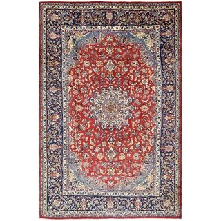 Hand Knotted Isfahan Semi Antique Wool Area Rug - 8' 4 x 13'