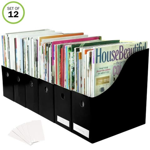 Evelots Magazine File Holder-Organizer-4 Inch Wide-Black-With Labels-Set/12