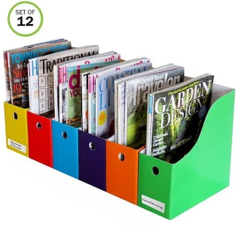 Evelots Magazine File Holder-Organizer-4 Inch Wide-Black-With Labels-Set/12
