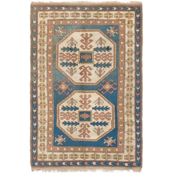 Shop Hand Knotted Kars Antique Wool Area Rug - 4' x 6' - On
