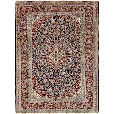 Hand Knotted Kashan Semi Antique Wool Area Rug - 9' 10 x 13' 6