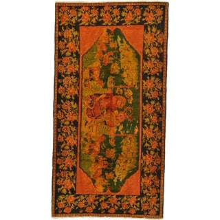 Hand Knotted Karabakh Antique Wool Area Rug - 4' 5 x 8' 5
