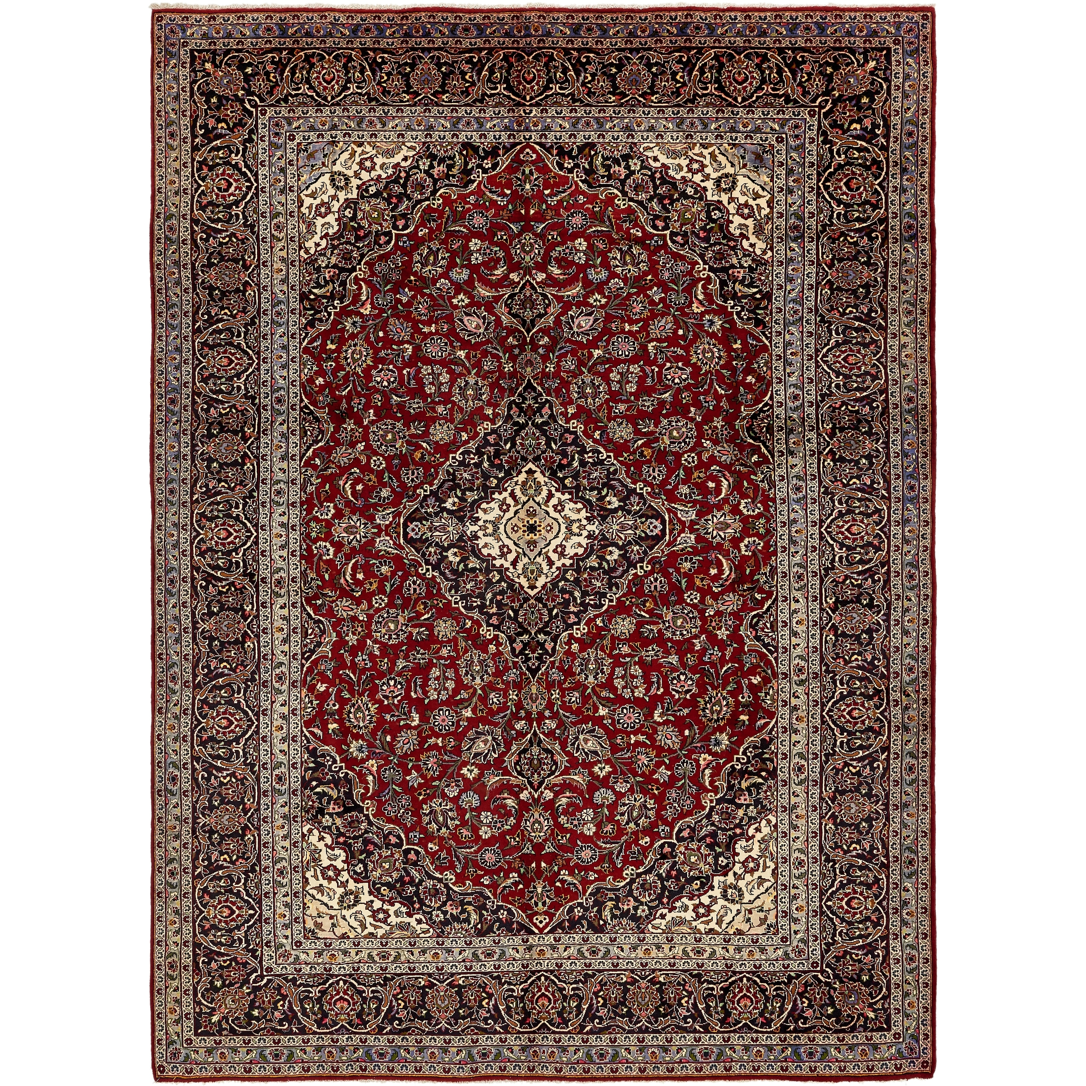 Hand Knotted Kashan Wool Area Rug - 9' 9 x 13' 5 (Red - 9' 9 x 13' 5)