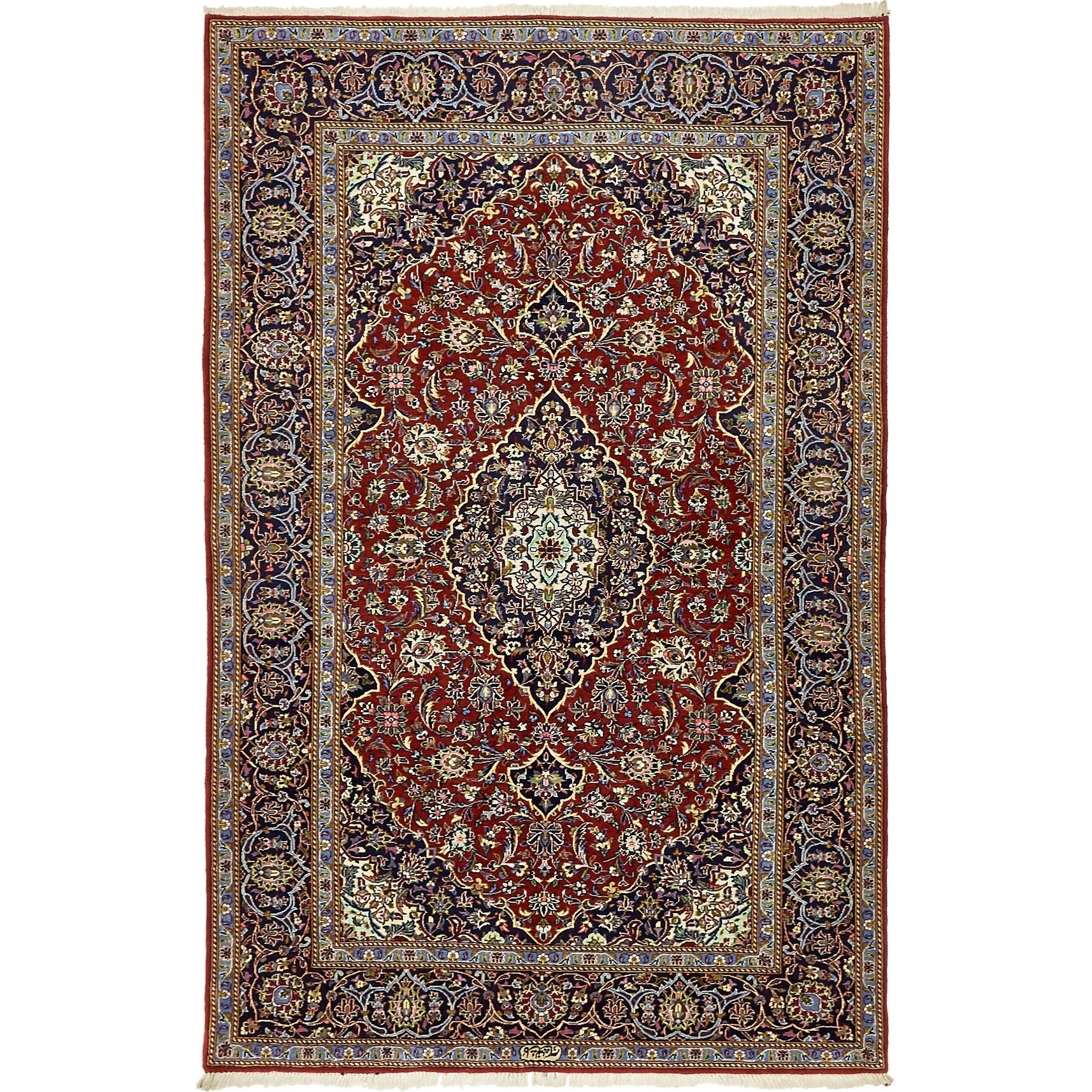 Hand Knotted Kashan Silk & Wool Area Rug - 4' 8 x 7' 2 (Red - 4' 8 x 7' 2)