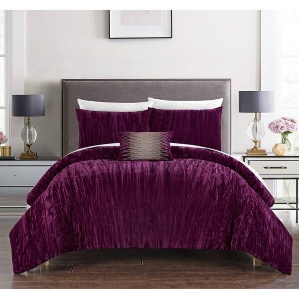 Chic Home Kerk 4 Piece Comforter Set Crinkle Crushed Velvet Bedding